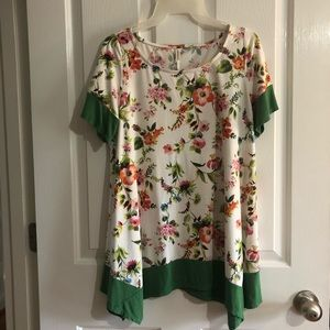 Womens Floral blouse Emerald Medium